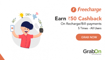 Freecharge Flat ₹50 cashback on min Recharge/Bill of ₹50 or more.