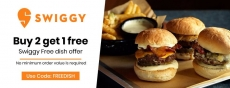 Swiggy Coupon Code : Buy 2 dishes get 1 dish free.