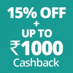 Flat 15% off + up to Rs.1000 cashback on  Prescribed medicines.