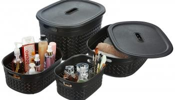 Best Offer on Solimo 4 Piece Plastic Basket Set Upto 60% Off