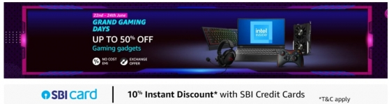Grand Gaming Days loot offer 60% off on Amazon + Sbi card offer