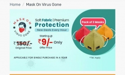 Droom Sale Coupons : Droom Pack of 3 Masks Rs.9
