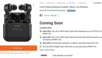 Free product : lava probuds Bluetooth headset at 1 Rs on Flipkart