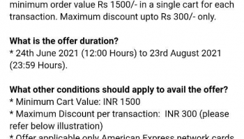Flipkart New Offer : American Express Card Users Get 20% Off On Min. Purchase Of 1500₹