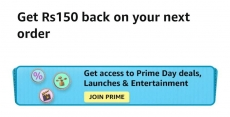Amazon Prime offer : Get Rs.150 Back On Prime Day Order