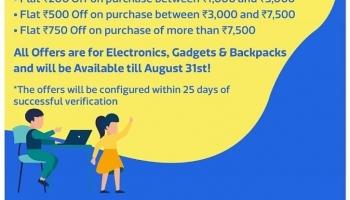 Flipkart Student loot Offer : Get 3 Months Flipkart Plus Free + 10  Supercoins + upto 750 Off Coupon on 7500