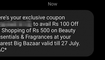 Bigbazzar get 100 rs off code by giving misscall