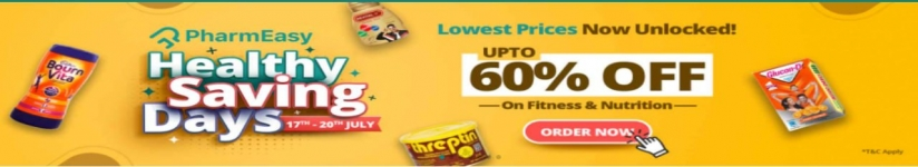 Pharmeasy Healthy Saving Days loot Lowest Prices Ever : Upto 60% Off on Fitness, Nutrition & Immunity Healthcare products.