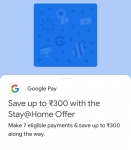 Google Pay  – Collect 7 Stamps & Get Upto Rs 300 'Stay At Home'