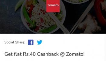 Latest Zomato Mobikwik Offer – 50% off 40 Rs cashback