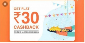 100% Cashback on FreeCharge casback up to 30 on recharge and bill payment