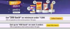 Pantry Offer today : Get 200 Rs CashBack on order 1200