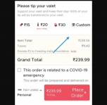 Zomato free delivery offer : 100% off