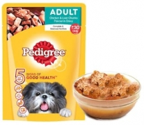 Adult Dog Food Chicken & Liver Chunks 80 g At Rs 1 only