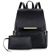Alice Black Faux Leather Backpack for Women Schoolbag Casual Daypack