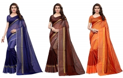 Anni Designer Cotton Saree with Blouse Piece (Pack of 3)