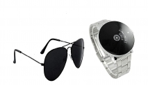 Blutech Analogue Black Dial Unisex Watch & Sunglass Combo