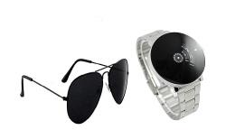 Blutech Analogue Black Dial Unisex Watch & Sunglass Combo