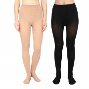 BoldnYoung Women's Stocking Black & Skin Panty Hose (Pack of 2)