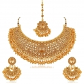 Bridal Gold Plated Stones Necklace Set for Women