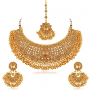 Bridal Gold Plated Stones Necklace Set for Women at 269 (M.R.P 5,299)