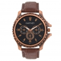 Cartney Copper Analog Black Dial Brown Leather Strap Watch