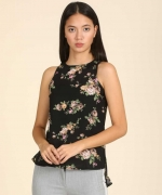 Casual Sleeveless Printed Women Black Top