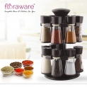 Loot Floraware Plastic Revolving Spice Rack Set, 120ml, Set of 16, Brown at 585 MRP 2599