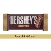 Hershey's Bar Milk, 40gm (Pack of 8)