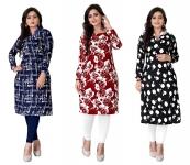 Kesari King Women's Semi-Stitched Kurti Material -Combo Pack of 3