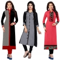 RAMDEV Women's Cotton Semi- Stitched Kurti (Multicolour,Free Size) Pack of 3