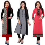RAMDEV Women's Cotton Semi- Stitched Kurti (Multicolour,Free Size) Pack of 3