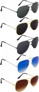 NuVew Combo Pack of 5 Aviator Unisex Sunglasses With Pouch