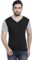 PerfectFit Solid Men V-Neck Black, Grey T-Shirt