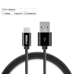 Pes Pure Zinc Alloy (Nylon Braided) Cable Premium USB Type C to USB A, Sync & Charging, All Type C Supported Devices – Black