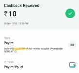 Paytm : Add Money ₹500 Get ₹10 Cashback.