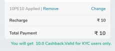 Mobikwik free 10 Rs cashback for all
