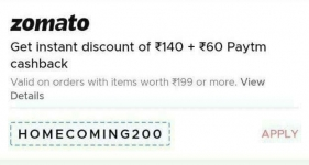 Zomato : Flat 140 Discount On Order Of 199