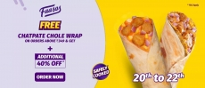 Faasos Coupons : Get FREE Chatpate Chole Wrap on order above Rs 349 + 40% OFF code