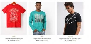 Ajio Loot : Men's T-shirts Start at 125 only