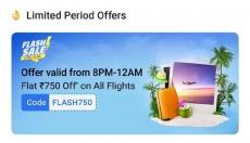 Flipkart flight big offers : Flat 750 Rs off on All Flights