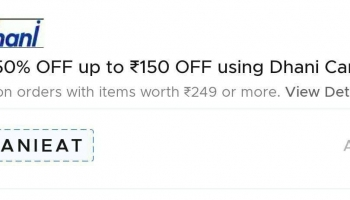 Zomato loot : Get 50% Off Upto ₹150 On Min. ₹250 Order Using Dhani Card.