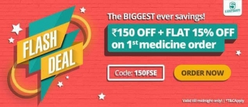 PharmEasy : Flat 15% Off + Rs.150 Off on your first order above Rs.1299