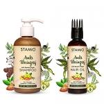 Stamio Amla Bhringraj Hair Oil & Shampoo Combo For Stronger, Healthier, Lustrous Hair (Shampoo 200Ml + Oil 100Ml)