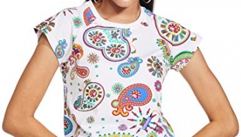 River Manish Arora Designer Slim Fit Women'S Tops T-Shirt (Dbspl03Tp005_Snow White_S