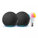 All-New Echo Dot (4Th Gen, Black) Gift Twin Pack With Wipro 9W Led Smart Color Bulb