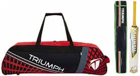 Triumph Staunch English Willow Professional Cricket Bat For Mens | Ready To Play | Light Weight With Kb-990 Cricket Wheel Bag Black/Red