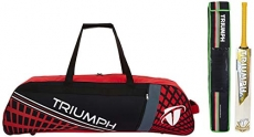 Triumph Staunch English Willow Professional Cricket Bat For Mens   Ready To Play   Light Weight With Kb-990 Cricket Wheel Bag Black/Red