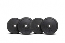 Stag Fitness 20 Kg (5 Kg X 4) Rubber Weight Plates 30 Mm, Rubber Weight Plates For Professional Gym Training