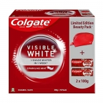 Colgate Visible Whitening White Beauty Combo (2N X 100 Gram Toothpaste, Dazzling Red Beauty Pouch)